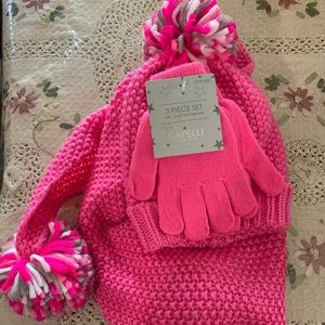 Capellini scarf, hat, and glove set pink